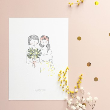 Affiche Soeurs Mimosa Rose