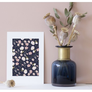 Print Navy Floral Pattern