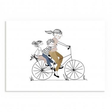 Affiche Balade à Vélo Fille et Garçon