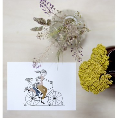 Card Bike Ride Girl and Boy