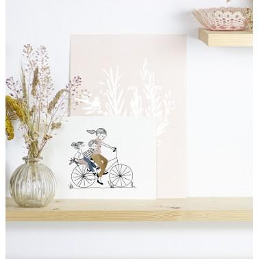 Print Bike Ride Girl and Boy