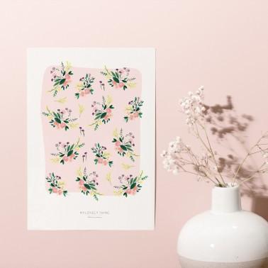 Affiche Motif Oiseaux Roses
